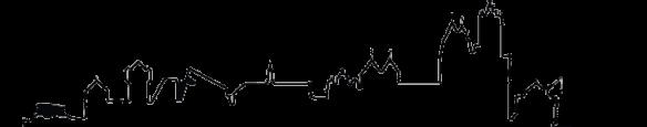 Skyline von Andernach (Bollwerk, Schlossgarten, Geysir-Center, Christus-Kirche, Mariendom, Rheintor, Runder Turm, Alter Krahnen)